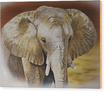 Elephant Wood Print by Julian Wheat
