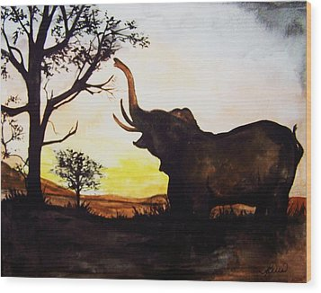 Elephant Wood Print by Laneea Tolley