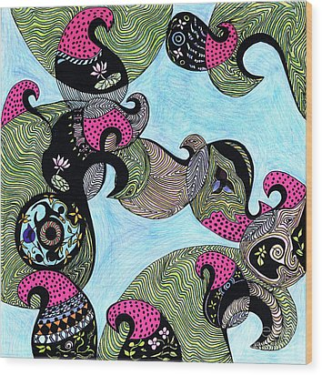 Elephant Lotus And Bird Design Wood Print by Mukta Gupta