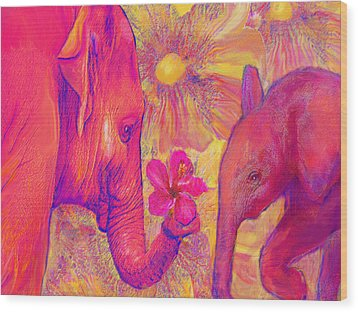 Elephant Love Wood Print