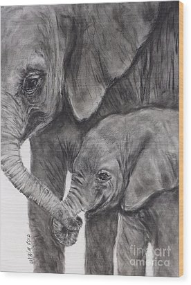 Elephant Love Wood Print by Michelle Wolff