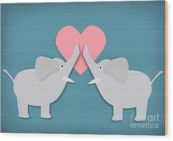 Elephant Love Wood Print by Sharon Dominick