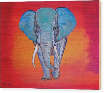 Wood Print featuring the painting Elephant Matriarch by Ella Kaye Dickey