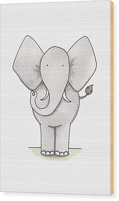 Elephant Nursery Art Wood Print by Christy Beckwith