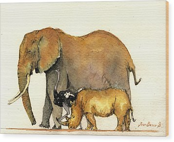 Elephant Ostrich And Rhino Wood Print by Juan  Bosco