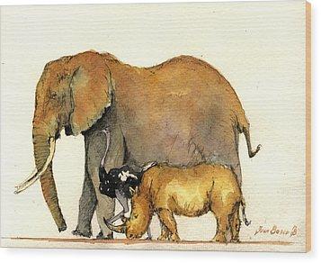 Elephant Ostrich And Rhino Wood Print