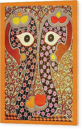 Elephant Pair-madhubani Paintings Wood Print