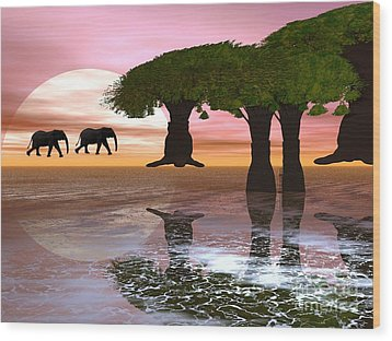 Elephant Walk Wood Print