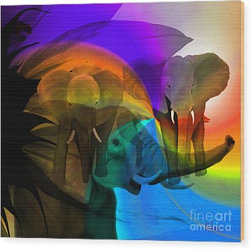 Elephant Walk Wood Print by Sydne Archambault