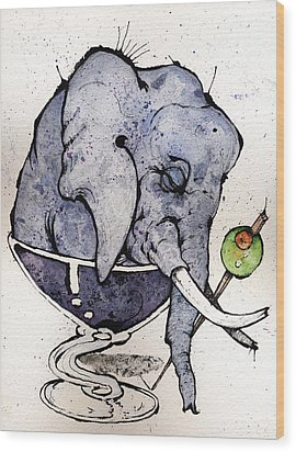 Elephantini Wood Print by Mark M  Mellon