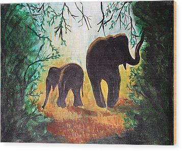 Elephants At Night Wood Print