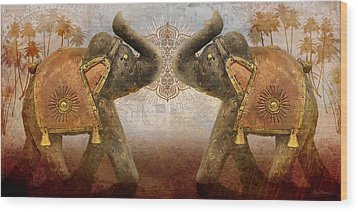 Elephants I Wood Print