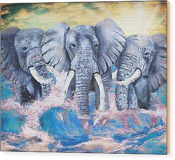 Elephants In The Tide Wood Print by Tara Richelle