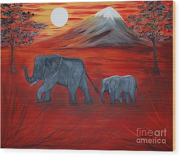 Elephants. Inspirations Collection. Wood Print