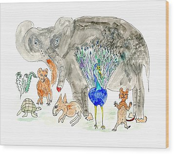 Elephoot And Friends Wood Print