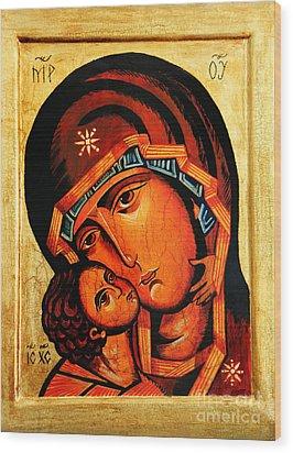 Eleusa Icon Wood Print by Ryszard Sleczka