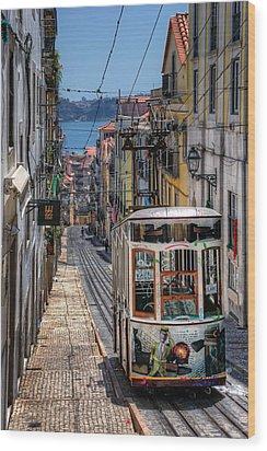 Elevador Da Bica Lisbon Wood Print