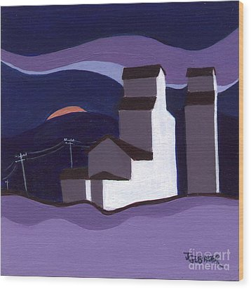 Wood Print featuring the painting Elevators At Night by Joyce Gebauer