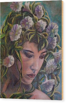 Wood Print featuring the painting Elf Dreams by Suzanne Silvir