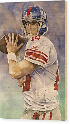 Eli Manning Wood Print by Michael  Pattison