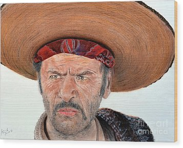Eli Wallach As Tuco In The Good The Bad And The Ugly Wood Print by Jim Fitzpatrick