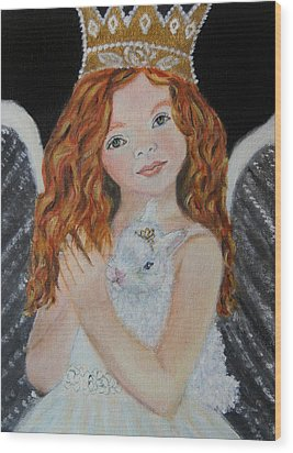 Eliana Little Angel Of Answered Prayers Wood Print by The Art With A Heart By Charlotte Phillips
