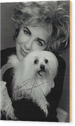 Elizabeth Taylor And Friend Wood Print by Studio Photo