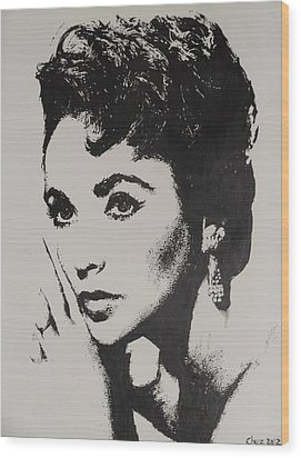 Wood Print featuring the painting Elizabeth Taylor  by Cherise Foster
