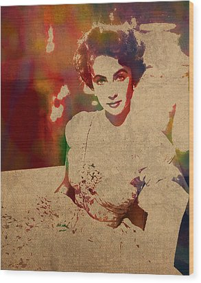 Elizabeth Taylor Watercolor Portrait On Worn Distressed Canvas Wood Print