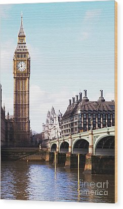 Elizabeth Tower On The Thames Wood Print by Jessica Panagopoulos