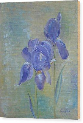 Elizabeth's Irises Wood Print