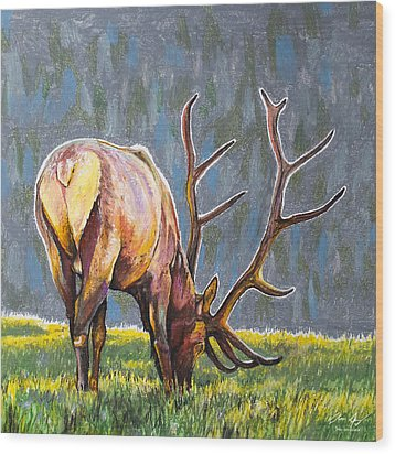 Wood Print featuring the painting Elk by Aaron Spong