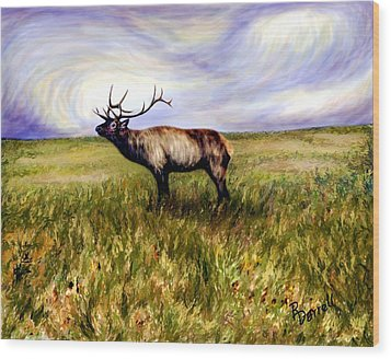 Elk At Dusk Wood Print