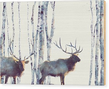 Elk // Follow Wood Print by Amy Hamilton