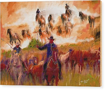 Elk Horse Round Up Wood Print by Ted Azriel