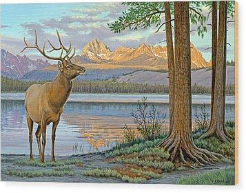 Elk In The Sawtooths Wood Print by Paul Krapf