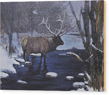 Wood Print featuring the painting Elk In The Wilderness by Noe Peralez