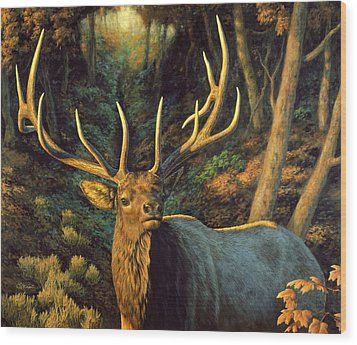 Elk Painting - Autumn Majesty Wood Print by Crista Forest