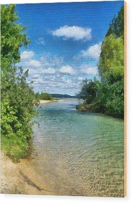 Elk River- Elk Rapids Michigan Wood Print by Michelle Calkins