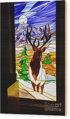 Elk Stained Glass Window Wood Print by Robert Bales