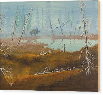 Wood Print featuring the painting Elk Swamp by Richard Faulkner