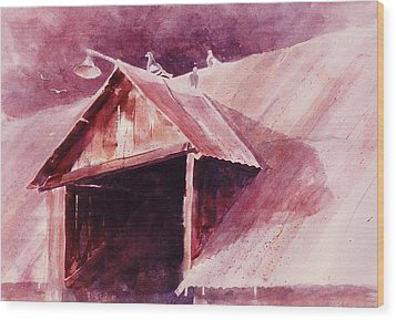Wood Print featuring the painting Elkhorn Valley Barn by John  Svenson