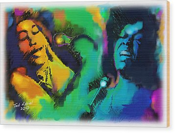Wood Print featuring the painting Ella And Sara by Ted Azriel