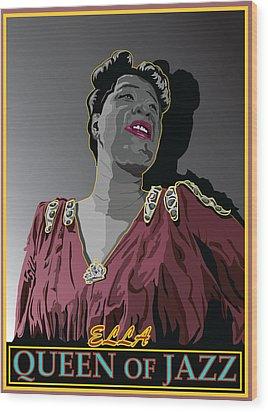Ella Fitzgerald Jazz Singer Wood Print by Larry Butterworth