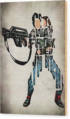 Ellen Ripley From Alien Wood Print by Ayse Deniz