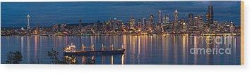 Elliott Bay Seattle Skyline Night Reflections  Wood Print by Mike Reid
