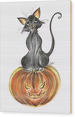 Elma's Pumpkin Wood Print by Teresa White