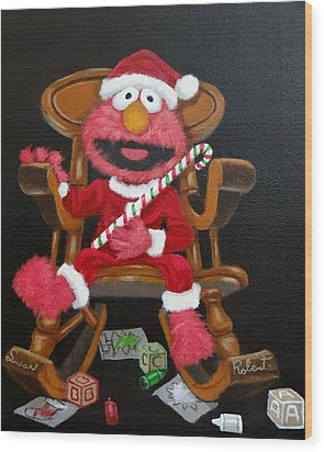 Wood Print featuring the painting Elmo  by Susan Roberts