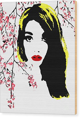 Elsa With Cherry Blossoms Wood Print by Alexandra Rose