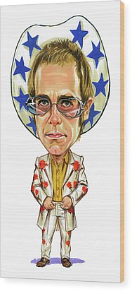Elton John Wood Print by Art